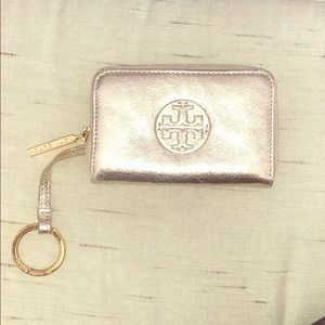 Tory Burch gold metallic card holder key chain
